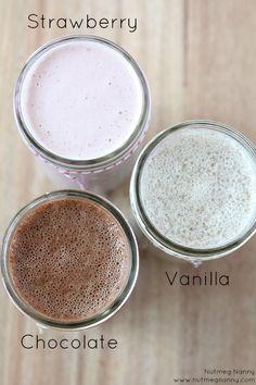 Homemade Almond Milk - Strawberry, Vanilla, & Chocolate @Brandy Clabaugh O'Neill {Nutmeg Nanny}
