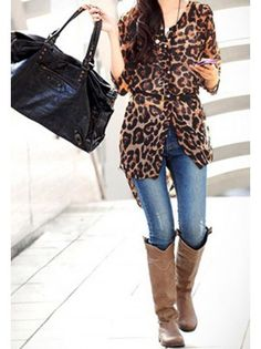 Leopard Chiffon Long Blouse