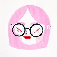 Portrait Illustration. Pink Hair.