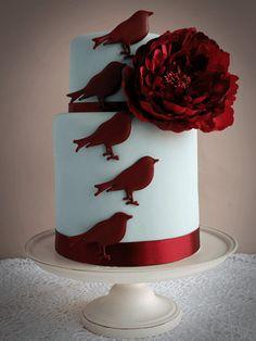 birds motive red velvet cake for wedding pictures Royal Red Velvet Wedding Cake modern  Wedding Cakes