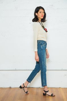 """Electric Feathers Remy Top, Pichulik Necklace, AMO """"Babe"""" jeans in Dive Bar, Maryam Nassir Zadeh Sophie Sandals"""