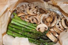Asparagus and Mushrooms in Parchment Bags | Recipes We Love