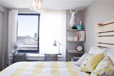 slat wall headboard, like the desk or dresser under window with shelves in corner