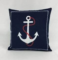 Pillow Cover - 16 x 16 Outdoor Nautical Pillow-Anchor Pillow- Red White & Blue Pillow - Seashore Pillow - Fully Lined - Invisible Zipper