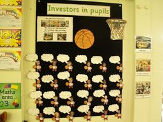 Investors in pupils target display in Year 1. Basketball theme.