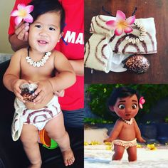 DIY Baby Moana Costume - Fabric was purchased from Walmart + borrowed flower from grandma + random items laying around the house for years to make the shell necklace and her larger shell = costume completed in 2 hours! Hot glue gun was our best friend today