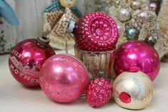 Hot Pink Vintage Christmas Ornaments