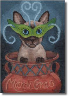 RKIves Original Oil Painting: Meowww, It's Fat Tuesday - Siamese Cat, Mardi Gras #Realism