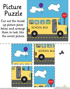 Worksheets: School Bus Picture Puzzle