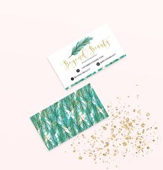 Tropical Feathers Business  Cards Design  by GoldenStreetsDesign