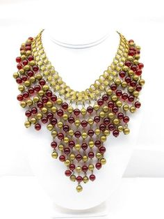 Miriam Haskell Unsigned Ruby Glass Bead 1940's Bib Necklace