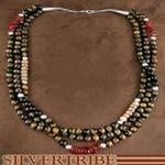 Navajo Indian Sterling Silver and Multicolor Bead Jewelry Necklace