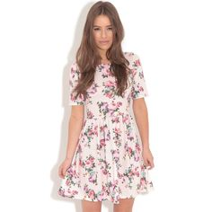 Christie Pink Floral Skater Dress (€13) ❤ liked on Polyvore featuring dresses, pink, floral pattern dress, floral skater dress, floral print skater dress, floral dress and flower print dress