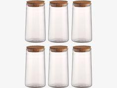 OLIVIA CLEAR Glass Set of 6 spice jars - HabitatUK