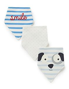 White Mix 3 Pack Pure Cotton Assorted Bibs