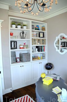 built in shelves for family room