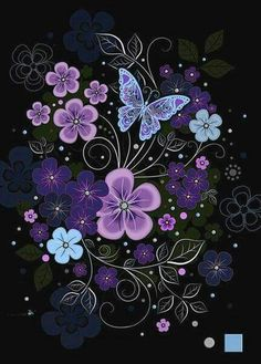 Pink Flowers by Jane Crowther, Bug Art. Flower Phone Wallpaper, Butterfly Wallpaper, Butterfly Flowers, Cellphone Wallpaper, Beautiful Butterflies, Flower Art, Pink Flowers, Iphone Wallpaper, Cute Wallpapers