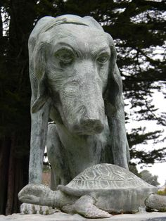https://flic.kr/p/9zsHHx | dog and turtle 2 | somewhat startling bronze family gravestone 'topper'  There's a long excerpt on the back of the stone, possibly from a children's story.    Cypress Lawn Cemetery Colma, CA