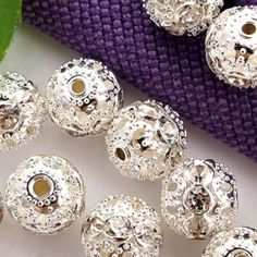 [$5.09] 50 X Silver Plated Rhinestone Spacers Caps Beads 10mm