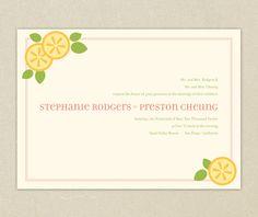 Printable Wedding Invitations: Zesty Lemon Wedding Collection. $75.00, via Etsy.