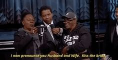 …and Denzel Washington officiated a quickie wedding between the couple. | The 22 Best Moments From The 2017 Oscar Awards