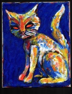 """colorful cat painting  8""""x10"""" acrylic on canvas  jack larson   #Abstract"""