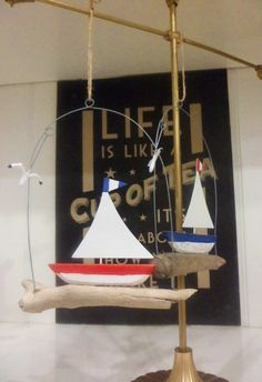 """Rustic Sailboat with Seagull in Driftwood"" Decorative Seaside Theme Hanger. 