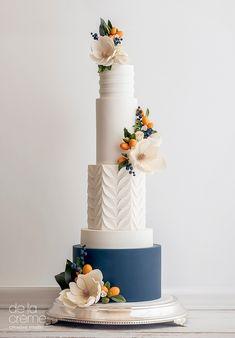 Wedding Cakes — De la Crème Creative Studio – Famous Last Words Creative Wedding Cakes, Floral Wedding Cakes, Amazing Wedding Cakes, Elegant Wedding Cakes, Elegant Cakes, Wedding Cake Designs, Rustic Wedding, Floral Cake, Cake Wedding