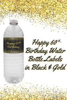 Black And Gold 60th Birthday Party Water Bottle Labels 24 Count