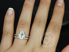 This wedding set is designed for those love the classics with a little twist! Gorgeous in delicacy and grace! All stones used are only premium cut, fairly traded, and/or conflict-free! Our diamonds are always natural NEVER treated or enhanced for better color or clarity. Our products are only created with the finest of recycled metals. Rosados Box™ works hard to save the world one piece of jewelry at a time! :) To see the engagement ring only, please click here: https://www.e...
