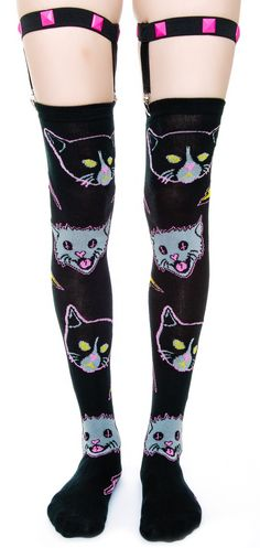 Too Fast Kitty Rocks Garter Socks | Dolls Kill