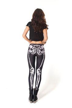 Chic Bone Printe Leggings In Black Color