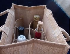 Jute Wine Tote/Carrier Divided for 6 by FliesintheButtermilk Mochila Jeans, Make Your Own Wine, Wine Tote, Bottle Bag, Jute Bags, Reusable Bags, Fabric Scraps, Fashion Bags, Purses And Bags
