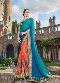 Heavy Embroidered Beautifully Designer Blue And Rust Colored Saree