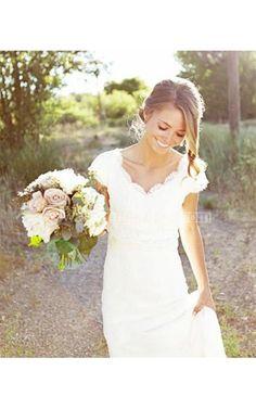 Cap Sleeve V-neck Sheath Chiffon Dress With Lace Bodice and Sash - Newadoring Dress