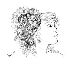 sketch portrait of a woman.