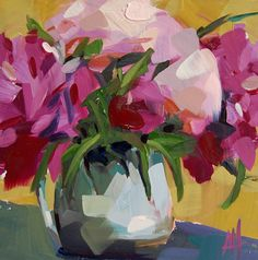 Pink Peonies in Pitcher no. 4 original floral still life oil painting by Angela Moulton 8 x 8 inches prattcreekart