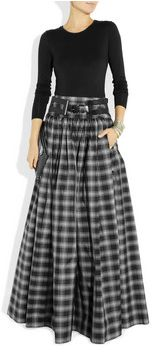 Taos plaid silk-blend taffeta maxi skirt Michael Kors