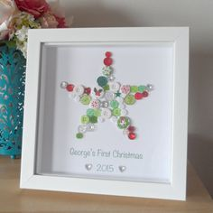 First Christmas Button Star - Personalised 1st Xmas Baby Child Button Art Print Gift