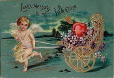 Beautiful Vintage Cupid  Valentine's Day Postcard Victorian Embossed