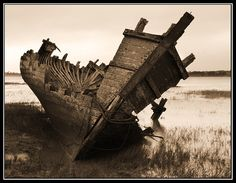 One Of The Old Ship Wrecks Left To Rot On The Wyre Estuary. Fleetwood,Lancashire