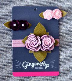 Headband and Clip Set - Pink and Burgundy Double Rose Headband and Double Rose Alligator Clips - 100% Handmade Wool Felt Hair Accesory Set