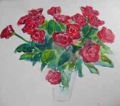 Red Rose Bouquet Watercolour painting