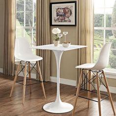 "StarSun Depot - Lippa 28"" Square Wood Top Bar Table, White"