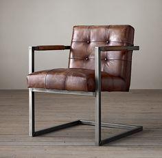 "LIVING ROOM. Milano Tufted Chair - Molasses. 29""W x 24""D x 32""H. $510."