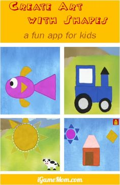 fun app for kids - create art with geometric shapes, kids not only learn shapes, colors, but also creativity Craft Activities For Kids, Preschool Crafts, Math Activities, Toddler Activities, Preschool Shapes, Teaching Shapes, Teaching Art, Learning Apps, Kids Learning