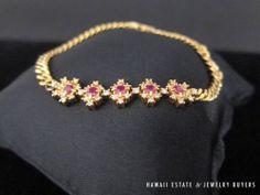 Elegant 18k Gold Links Natural Diamonds And Ruby Bracelet