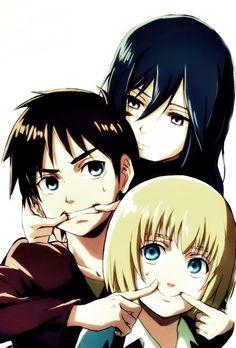 Mikasa, Eren, & Armin as children Attack on Titan