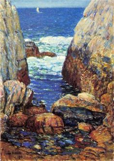 """Sea and Rocks, Appledore, Isles of Shoals"", Childe Hassam, 1918, Oil on canvas, 20 x 14.25"", Private collection."
