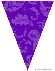 Purple Party Decorations   Free Graduation Party Flag Decorations   Printable Party Kits